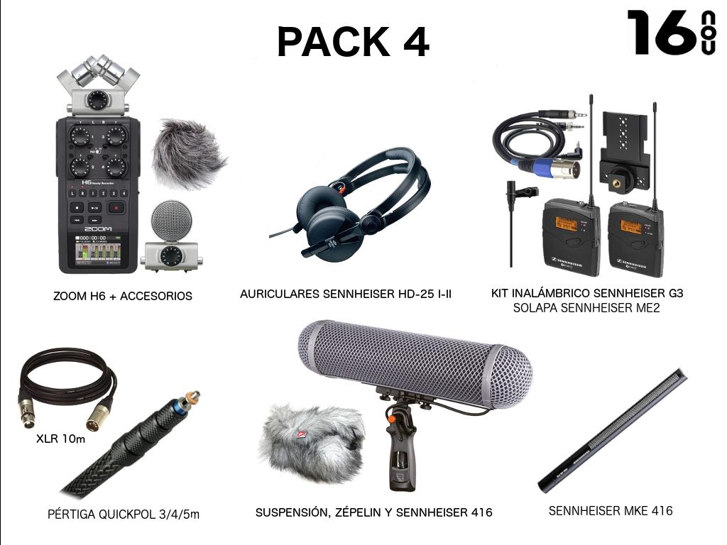 PACK 4 (Zoom H6, micro inalámbrico Sennheiser EW100, auriculares Sennheiser  HD25, Sen